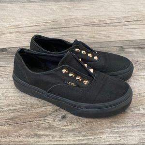 Vans black slip on sneakers gore stud little girl